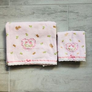 Hello Kitty Bath and Hand Towel Set Pink Rose Buds